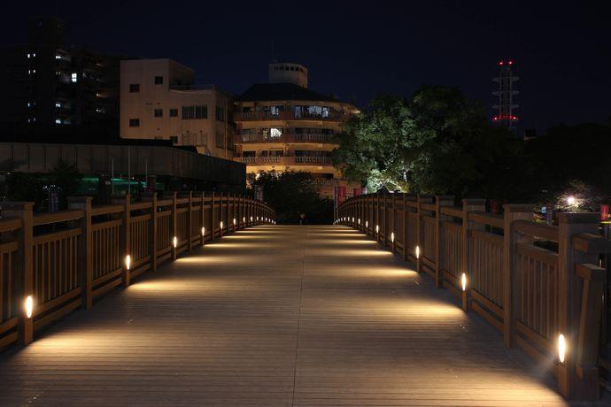 甲突川にかかる南洲橋と甲突川沿いの散歩