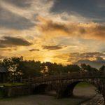石橋記念公園の朝焼けは歴史を感じさせる風景だった