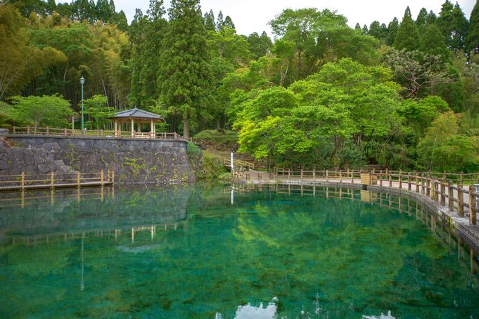 丸池湧水のある湧水町でのんびり過ごす